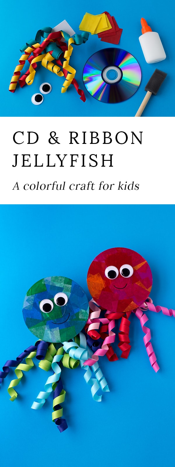 Summer is the perfect season for creating ocean themed art. Learn how to make a colorful upcycled CD and ribbon jellyfish craft.