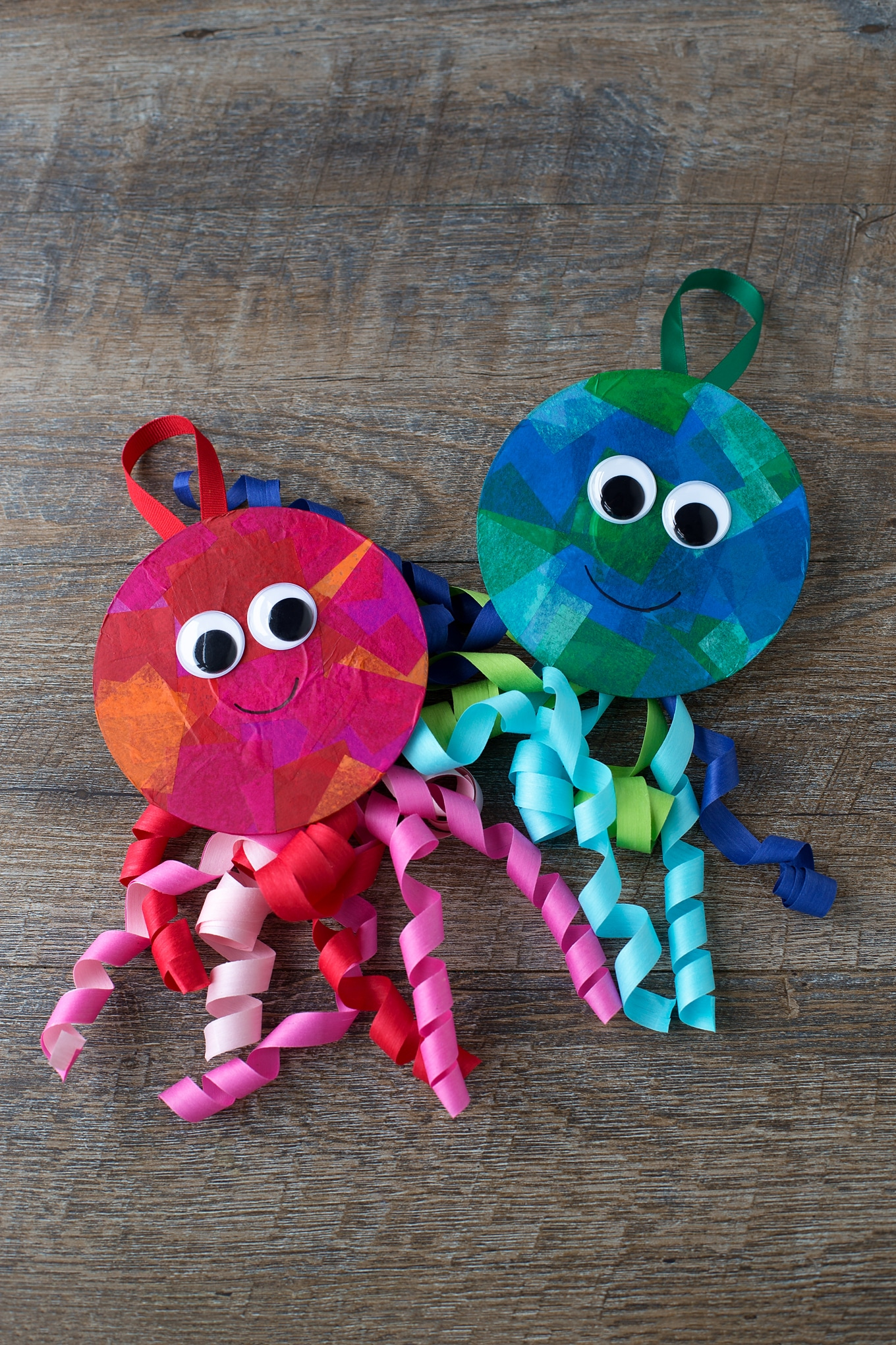 Red and Blue Tissue Paper Jellyfish Craft