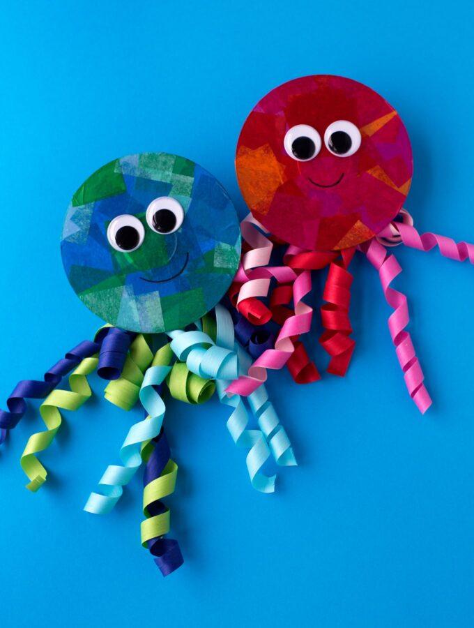 Upcycled CD and Ribbon Jellyfish Craft