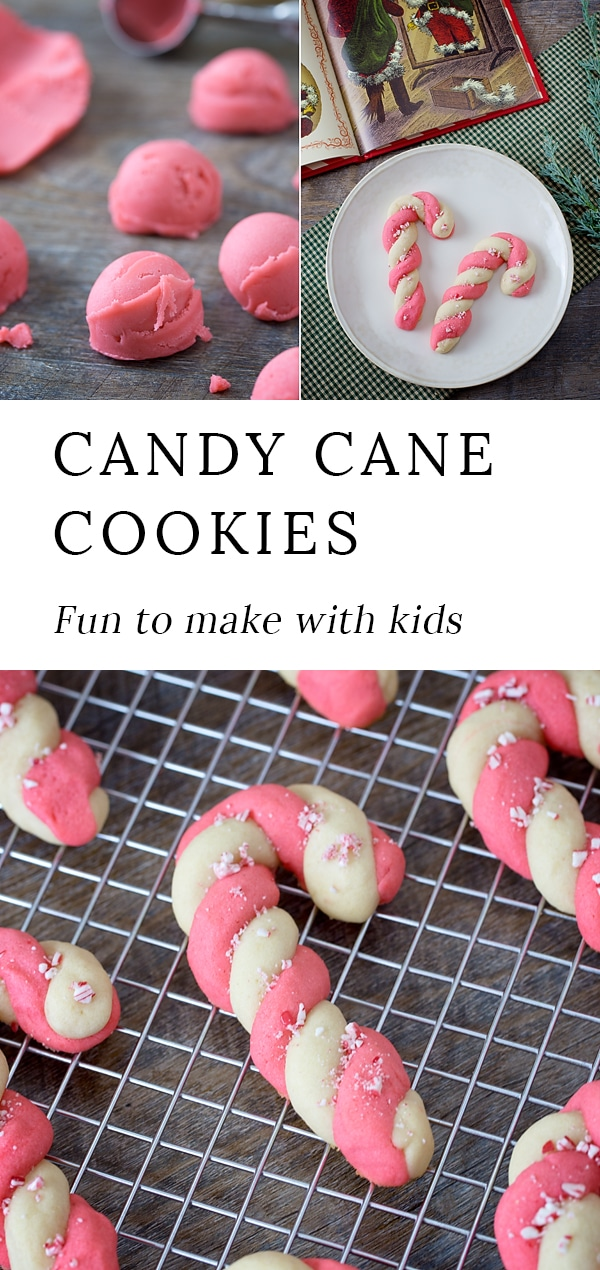Getting ready for holiday baking? These classic decorated Peppermint Candy Cane Cookies are a Christmas crowd-pleaser, especially with kids! #christmas #cookies #candycanes #kids #baking #holiday via @firefliesandmudpies