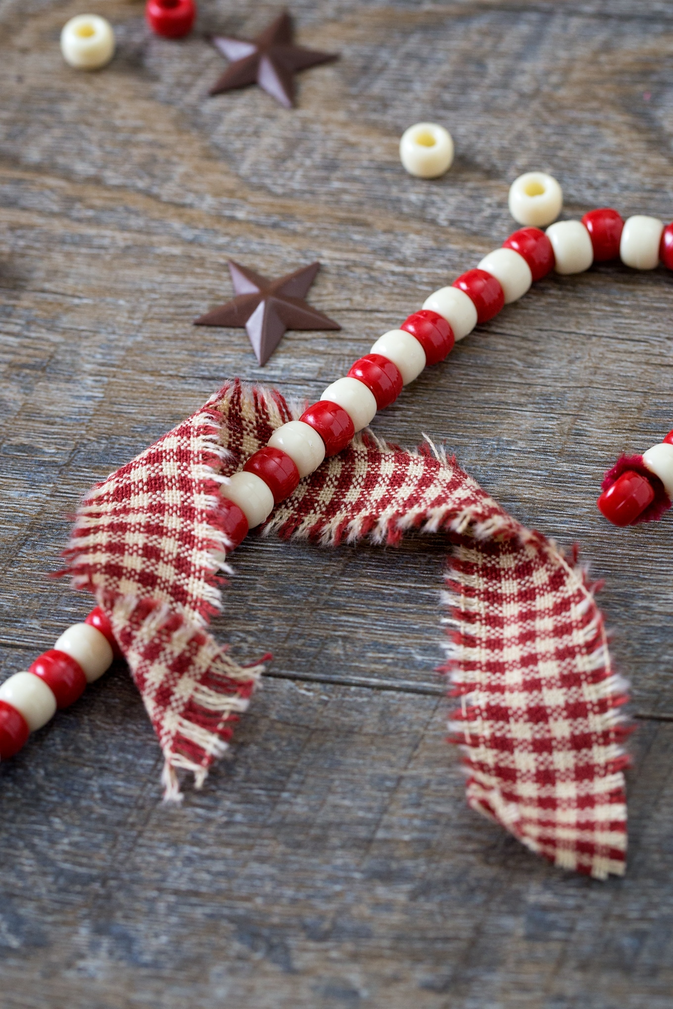 Candy Cane Ornaments with Pipe Cleaners and Fabric