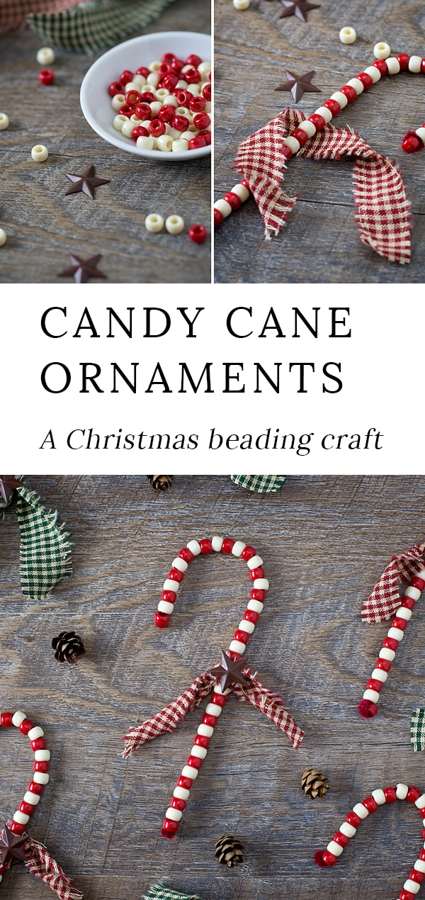 Just in time for the holidays, learn how to make Beaded Candy Cane Ornaments. Created with pipe cleaners and beads, give these fun ornaments a primitive twist, making them gift-ready and perfect for your Christmas tree. #christmas #ornaments #candycane via @firefliesandmudpies