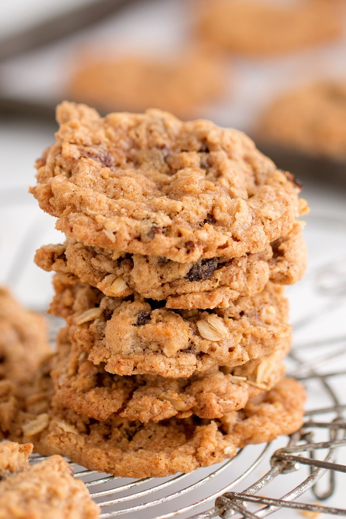 Stack of Freshly Baked Oatmeal Raisin Cookies