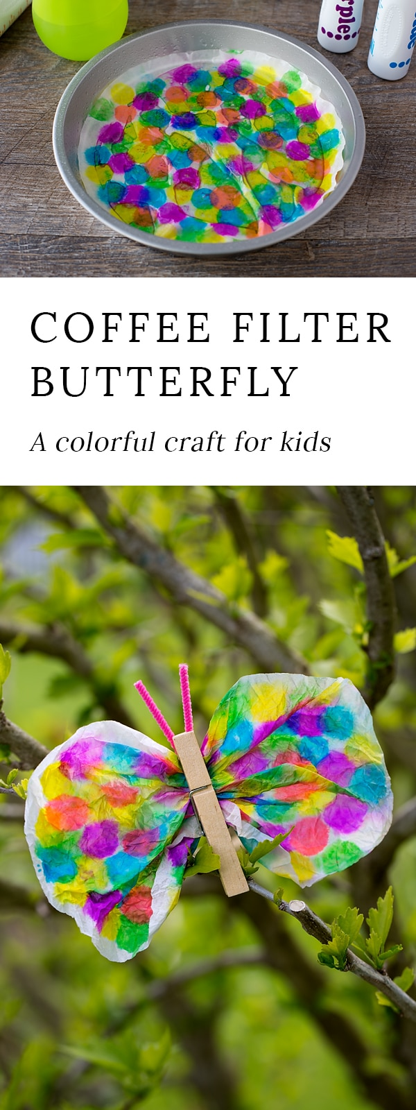 Not only is this Coffee Filter Butterfly Craft lovely, but it is packed with fine-motor skills. Dabbing, squeezing, scrunching, pinching…it's perfect for kids!