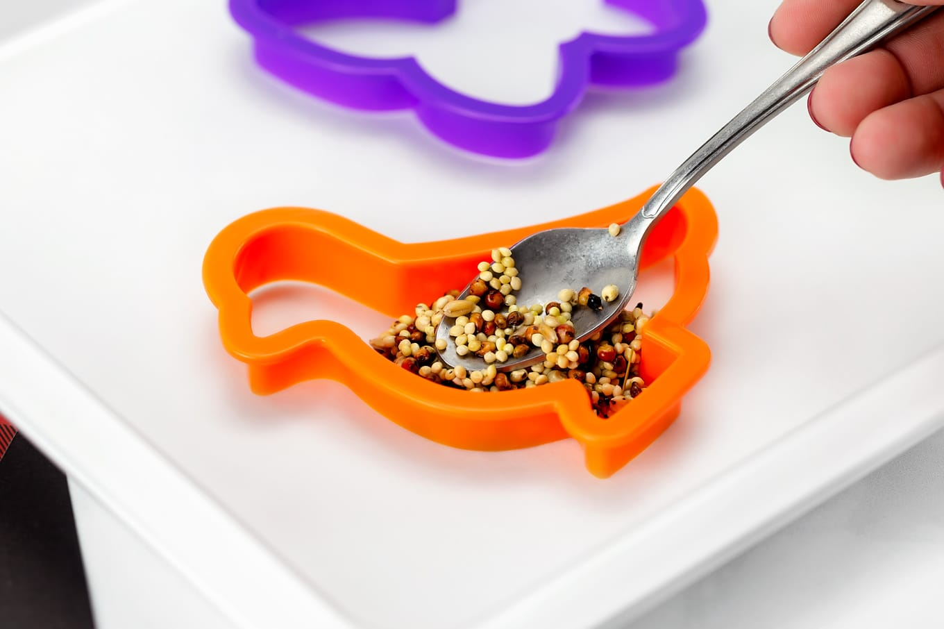 Shaping Birdseed Ornaments with Cookie Cutters