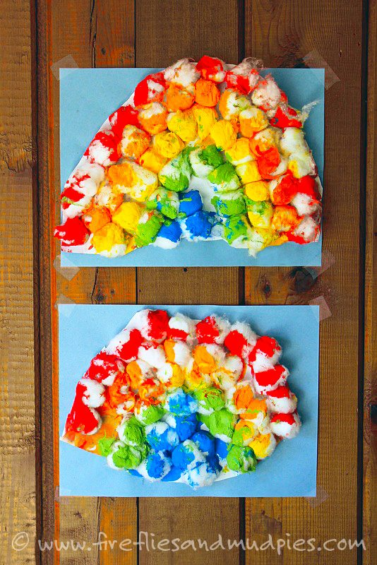 Cottonball Rainbow Art | Fireflies and Mud Pies