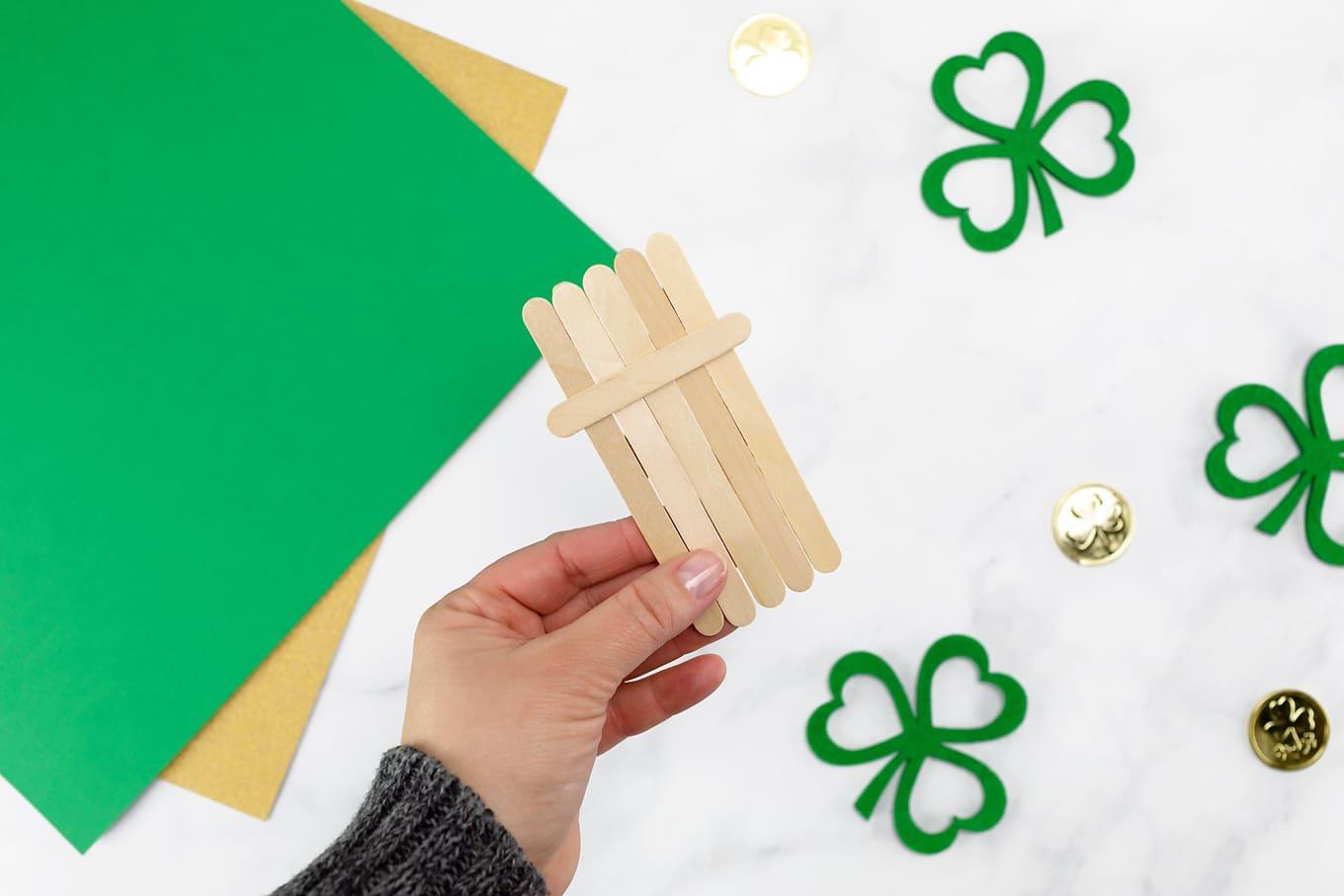 Craft Stick Leprechaun In-Process