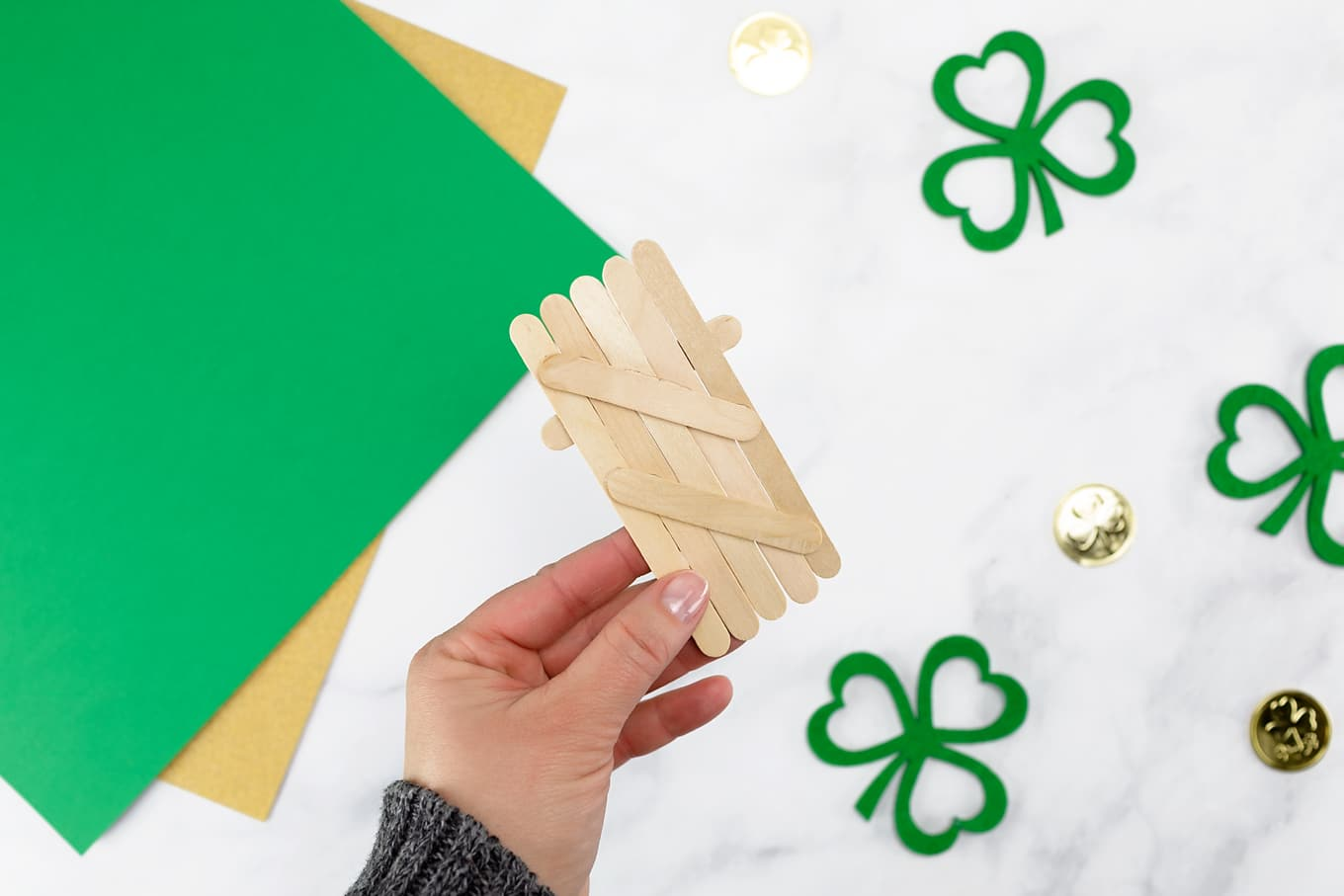 Easy Craft Stick Leprechaun In-Process
