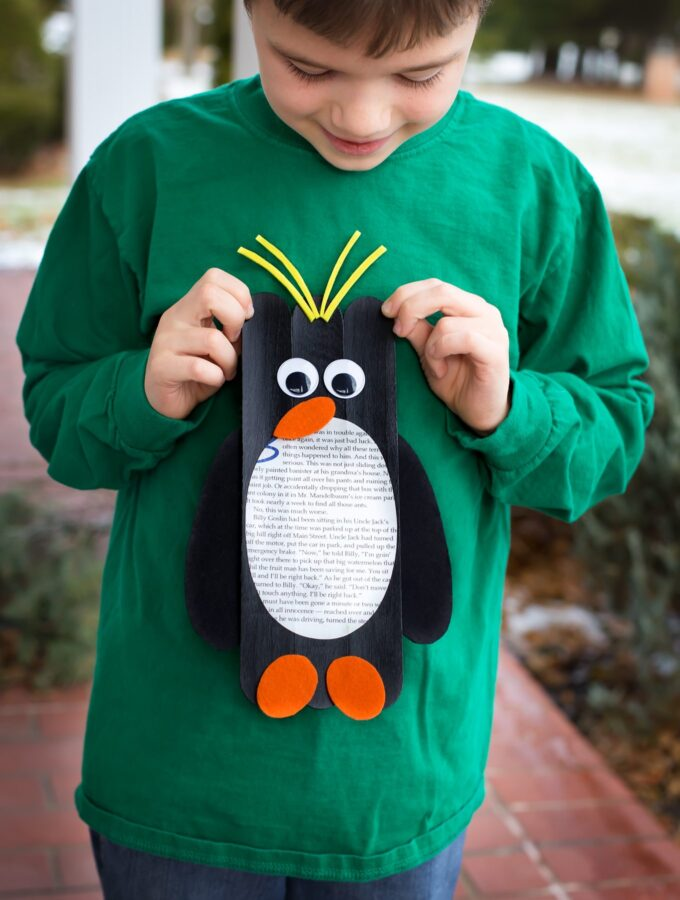 Giant Craft Stick Macaroni Penguins