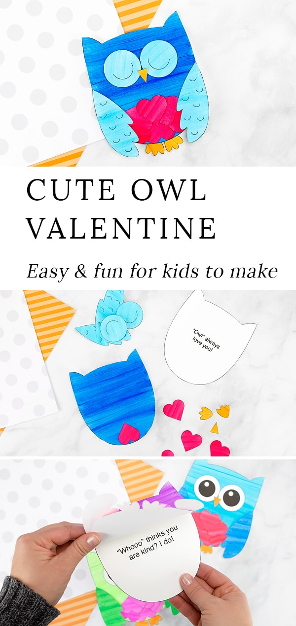 This sweet Owl Valentine card is fun for kids to make for family and friends. Created with paper hearts and a printable owl template, this simple handmade Valentine's Day card is perfect for home or school. #owl #valentine #craft via @firefliesandmudpies