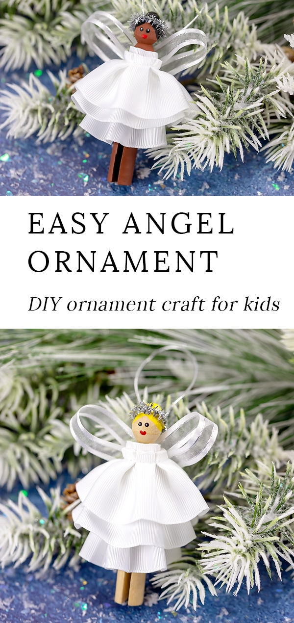 Learn how to make this beautiful DIY Christmas Angel Ornament from a wooden clothespin, a pipe cleaner, and ribbon with our helpful step-by-step tutorial and video. #ornaments #christmas #angel via @firefliesandmudpies