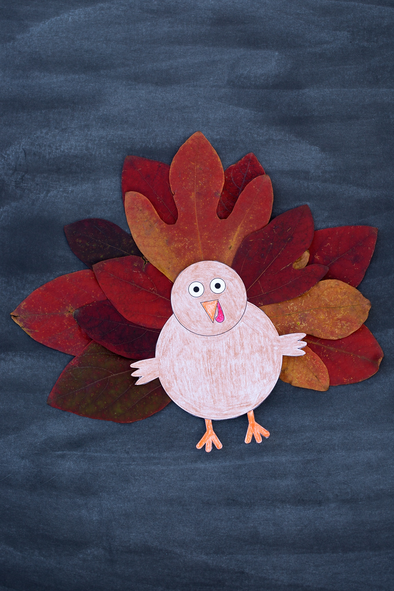 Paper Turkey Craft with Leaves