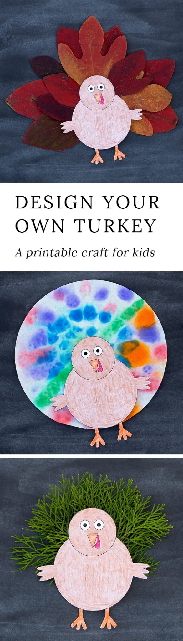 Kids love this creative Design Your Own Thanksgiving Turkey Craft. This easy craft includes a printable template, making it perfect for home or school. #thanksgivingturkeycraft #turkeycraft #thanksgiving #naturecrafts #printablecrafts #preschoolcraftsforkids