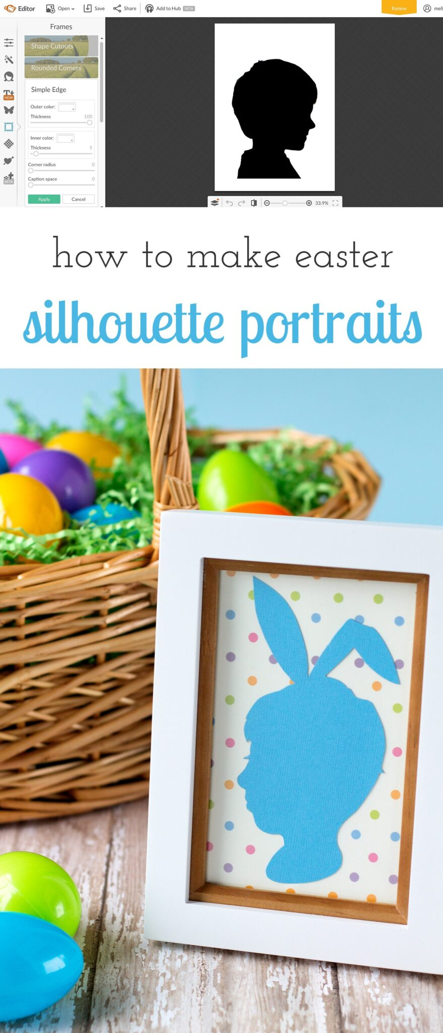 How to make Easter Silhouette Portraits using PicMonkey or Photoshop. This keepsake craft is perfect for kids of all ages!