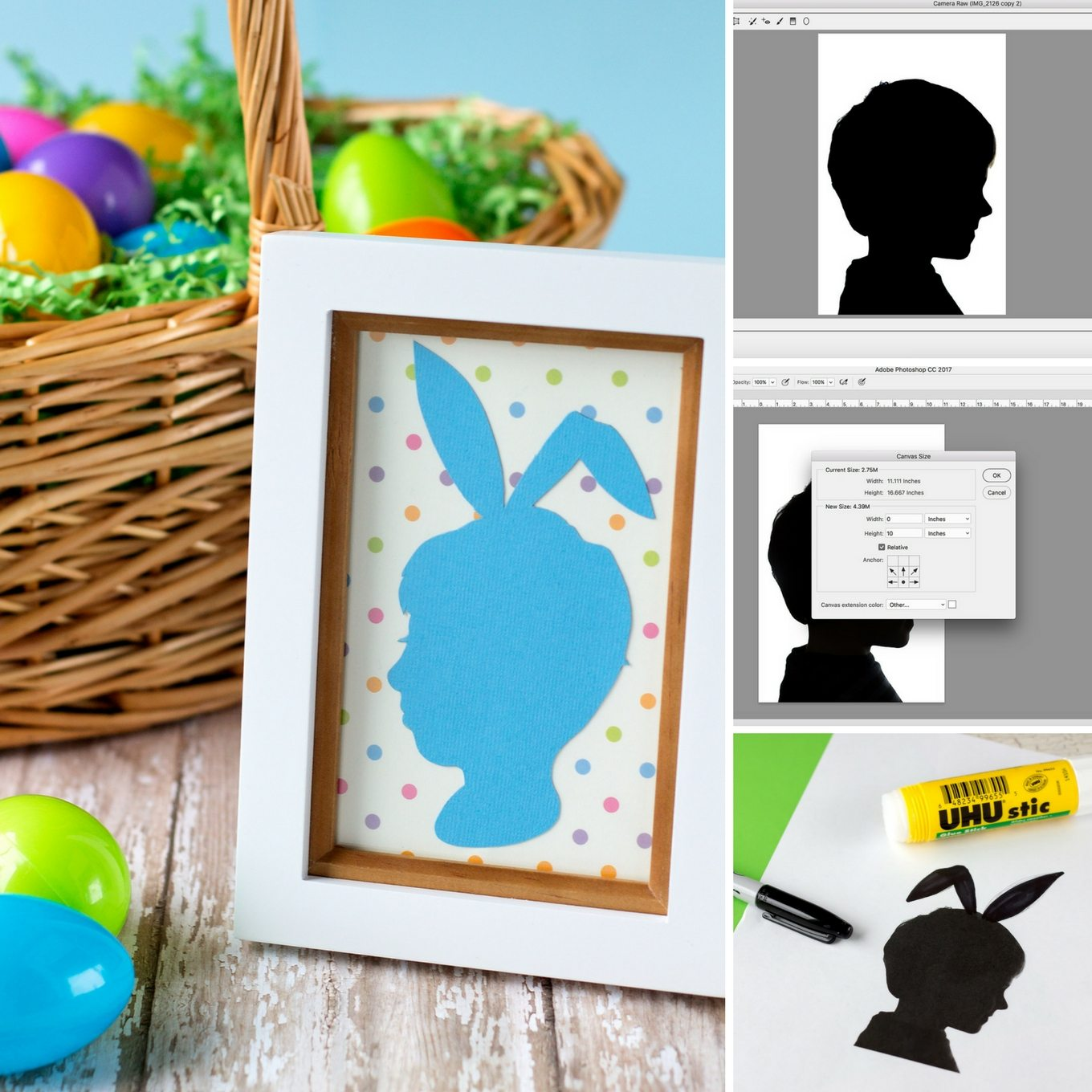 Easter Silhouette Portraits Collage