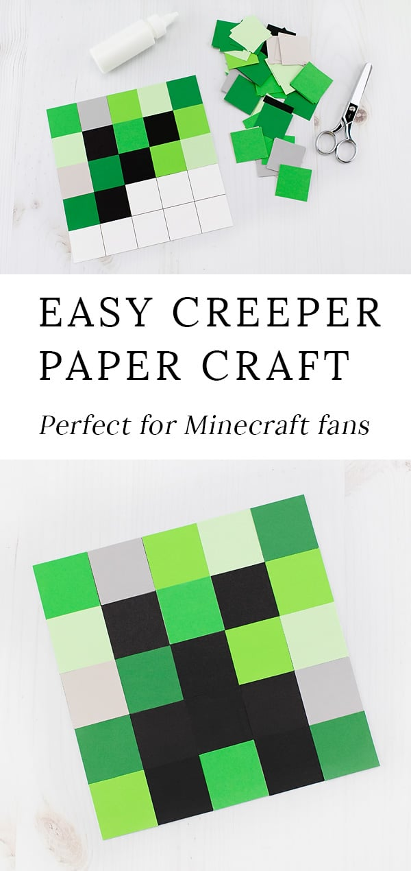 This easy, low-prep creeper craft is perfect for Minecraft fans of all ages. This paper craft includes a 3 free creative templates! #minecraftcrafts #creepercrafts #papercrafts #printablecrafts #minecraft