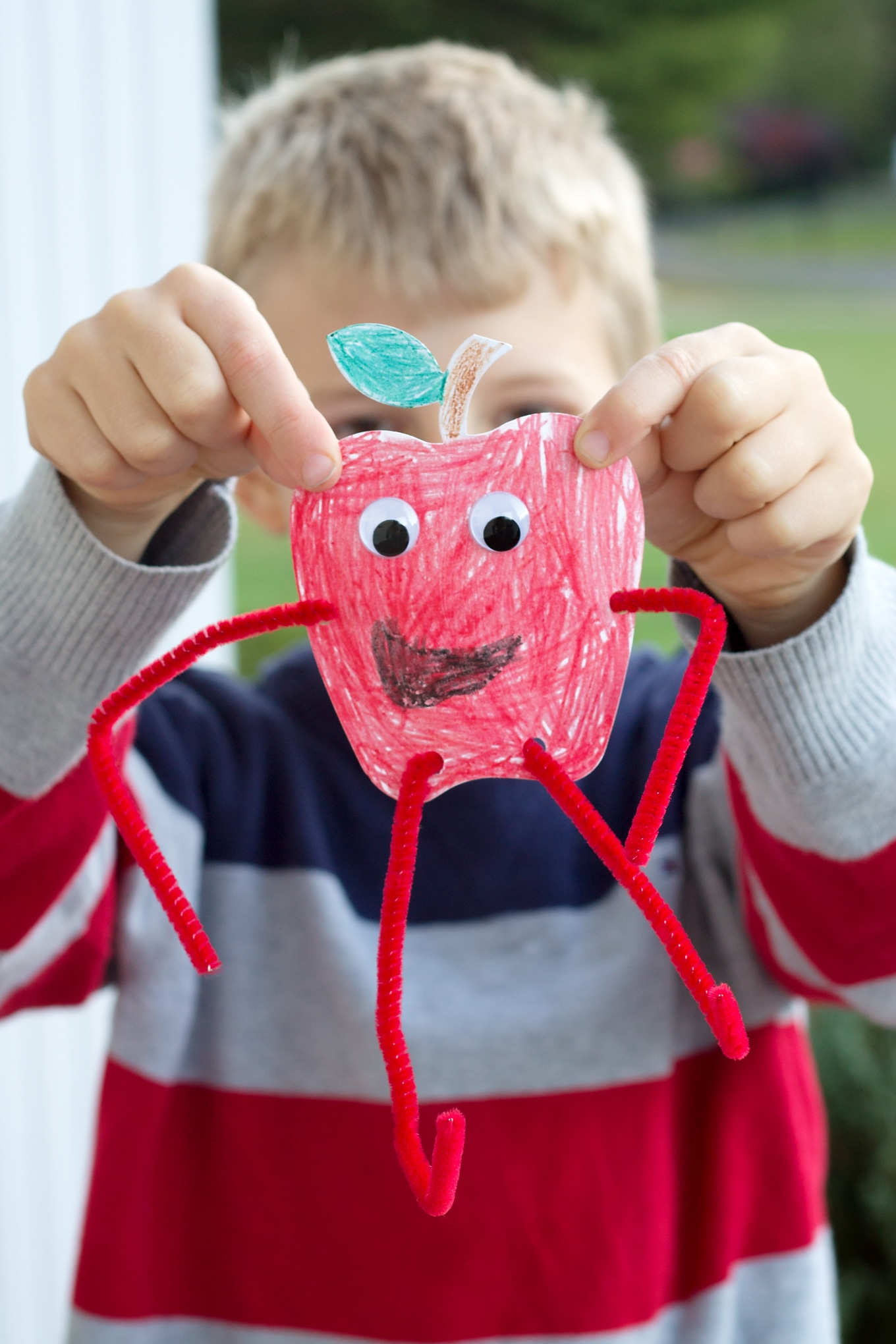 Kid-made Paper Apple Craft