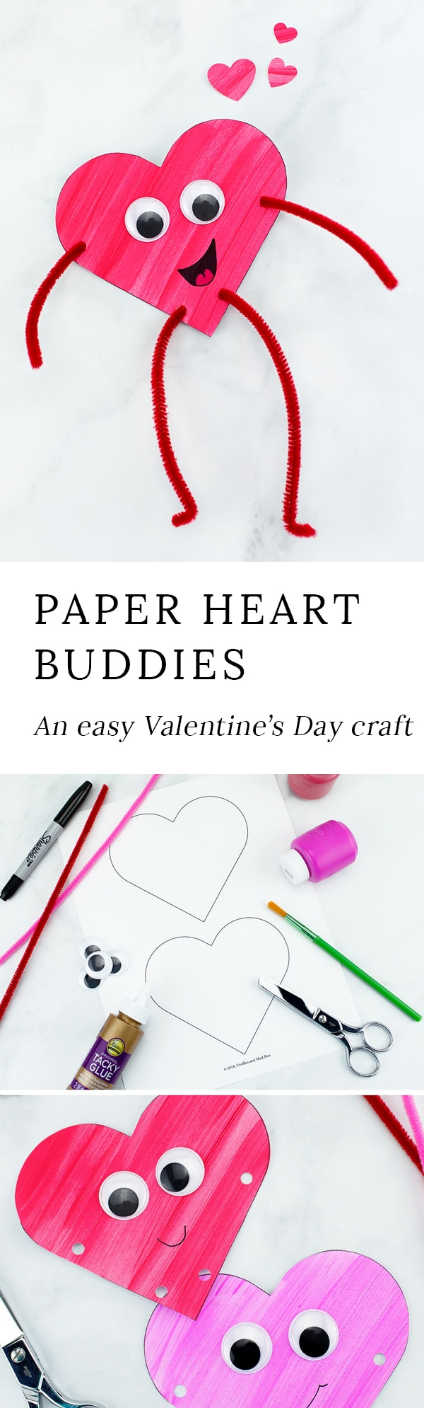 Looking for an easy Valentine's Day craft for kids? Colorful and fun Heart Buddies,made from our free template and basic craft supplies, are perfect for home or school!