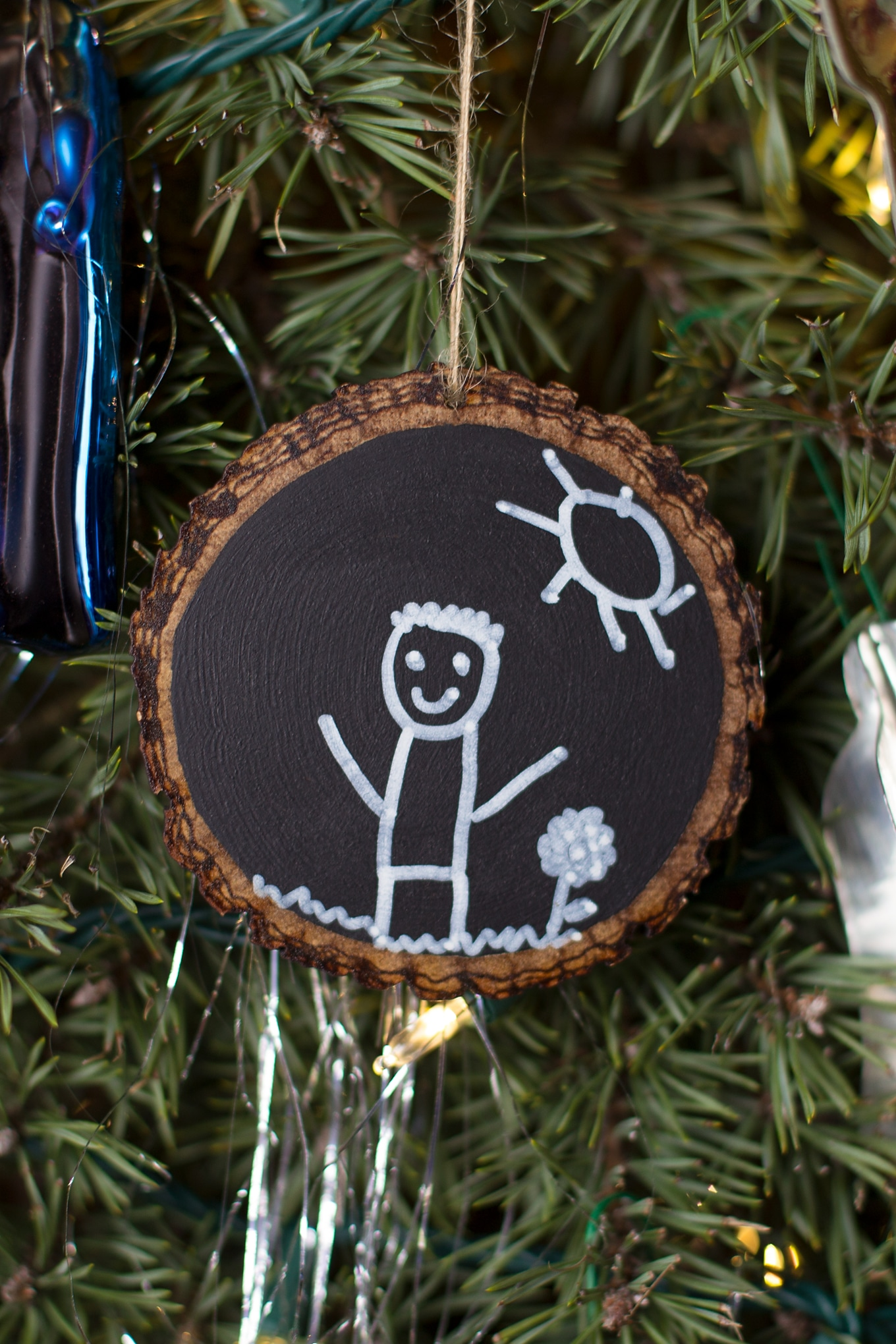 Easy and Fun DIY Chalkboard Ornament Hanging on Christmas Tree
