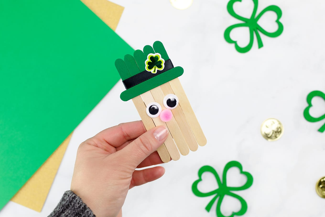 Cute Popsicle Stick Leprechaun In-Process