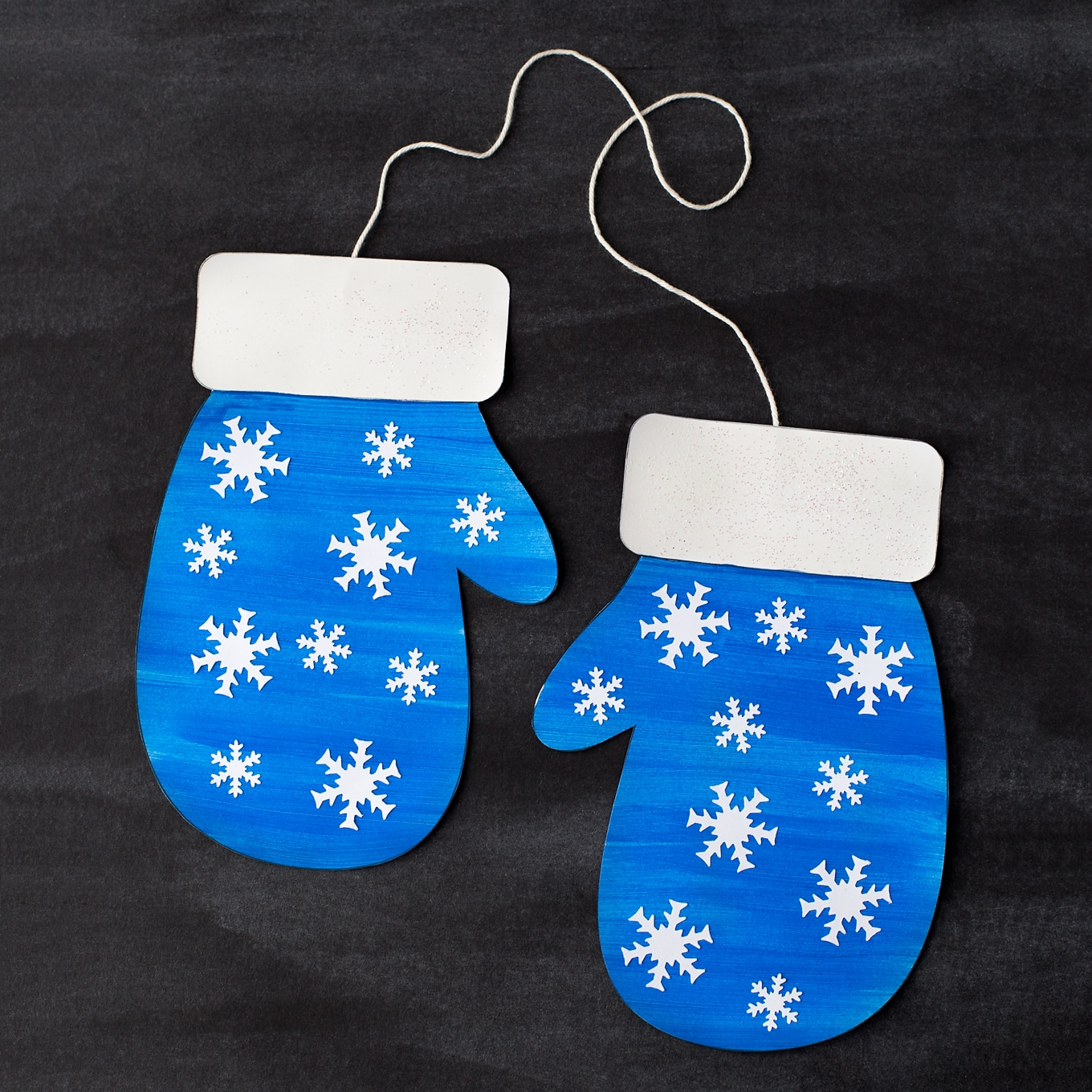 Blue Paper Mitten Craft with Snowflakes