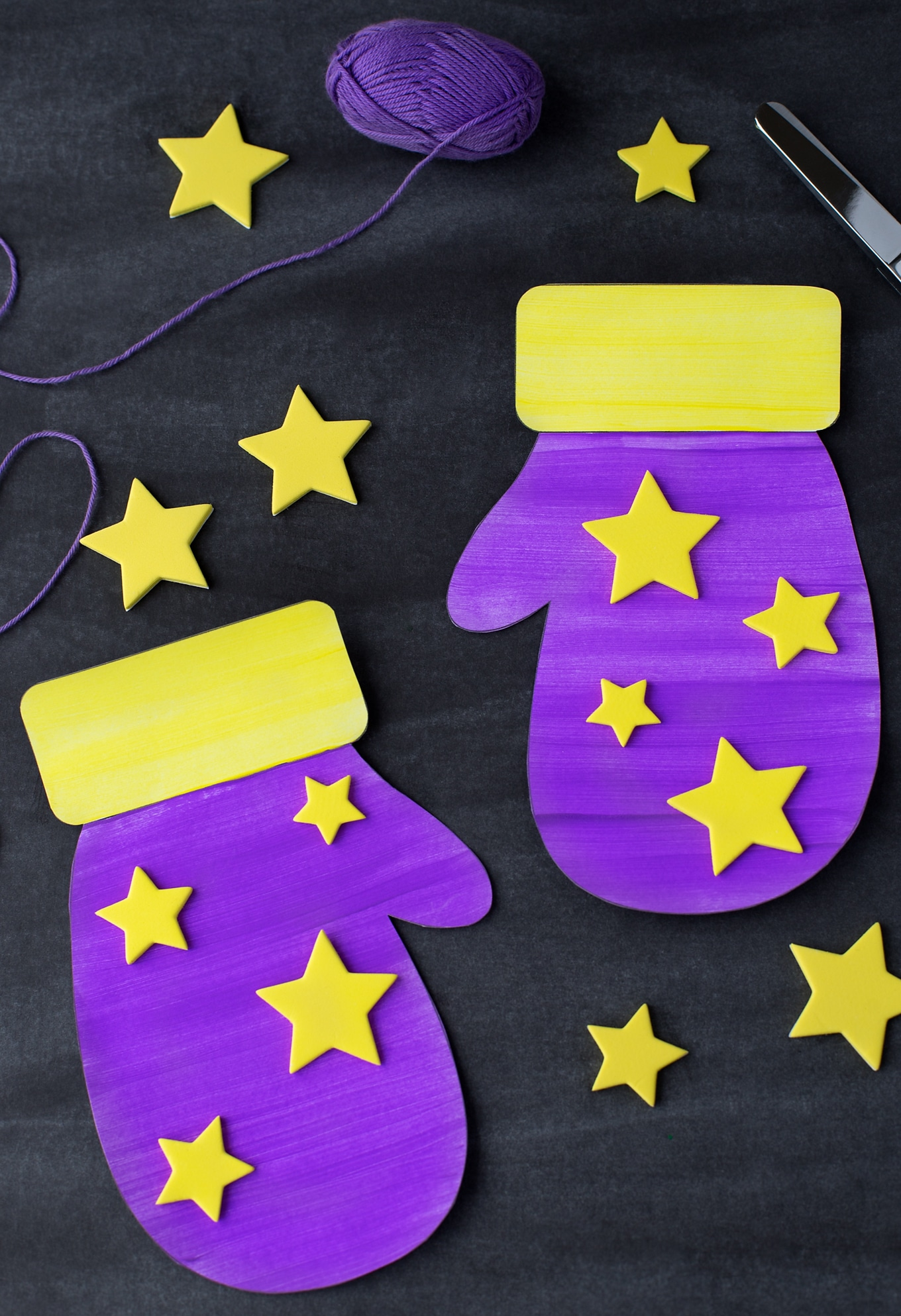 Paper Mitten Craft Painted Purple and Yellow with Stars