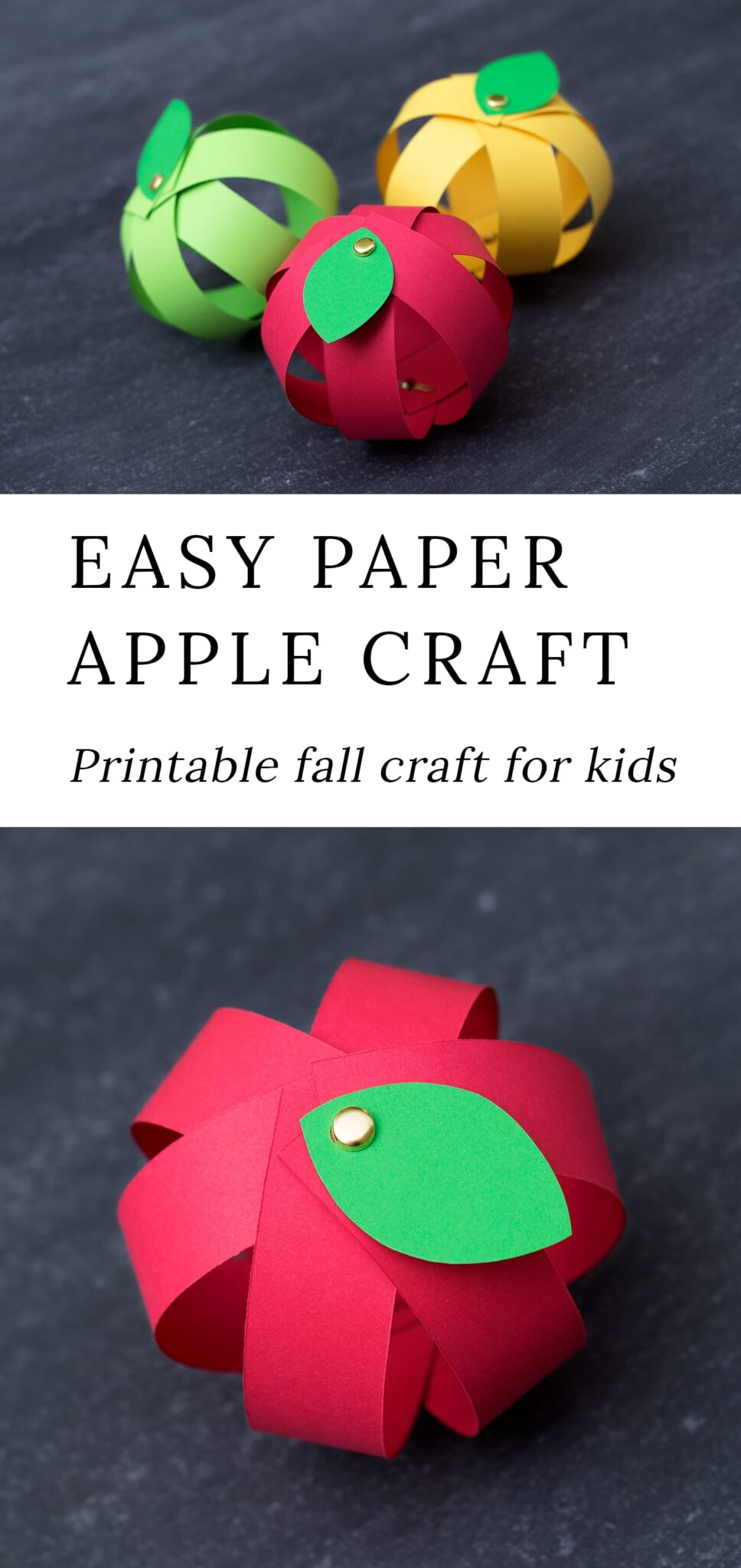 Kids love this easy paper strip apple craft! This simple fall craft includes a free printable template, making it perfect for home or school. #applecrafts #fallcrafts via @firefliesandmudpies