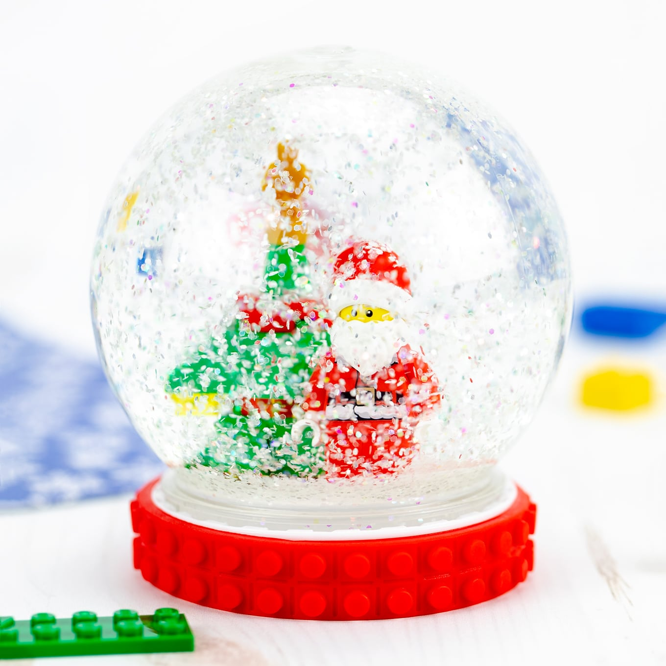 LEGO Santa and Christmas Tree Inside of a DIY Snow Globe
