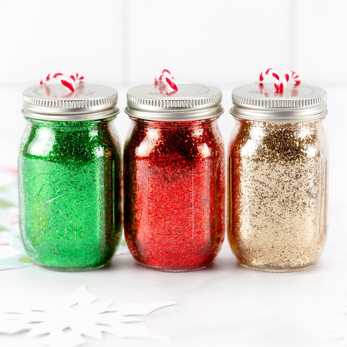 Green, Red, and Gold Glitter Jar Ornaments