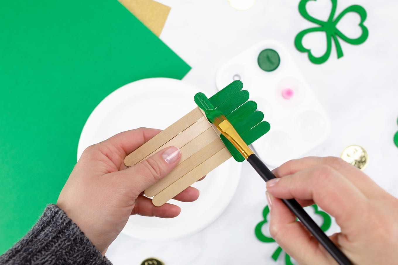 Hand Painting Green Leprechaun Hat