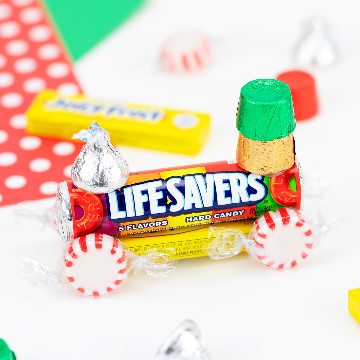 Candy Train Made with Rainbow Life Savers and Gum