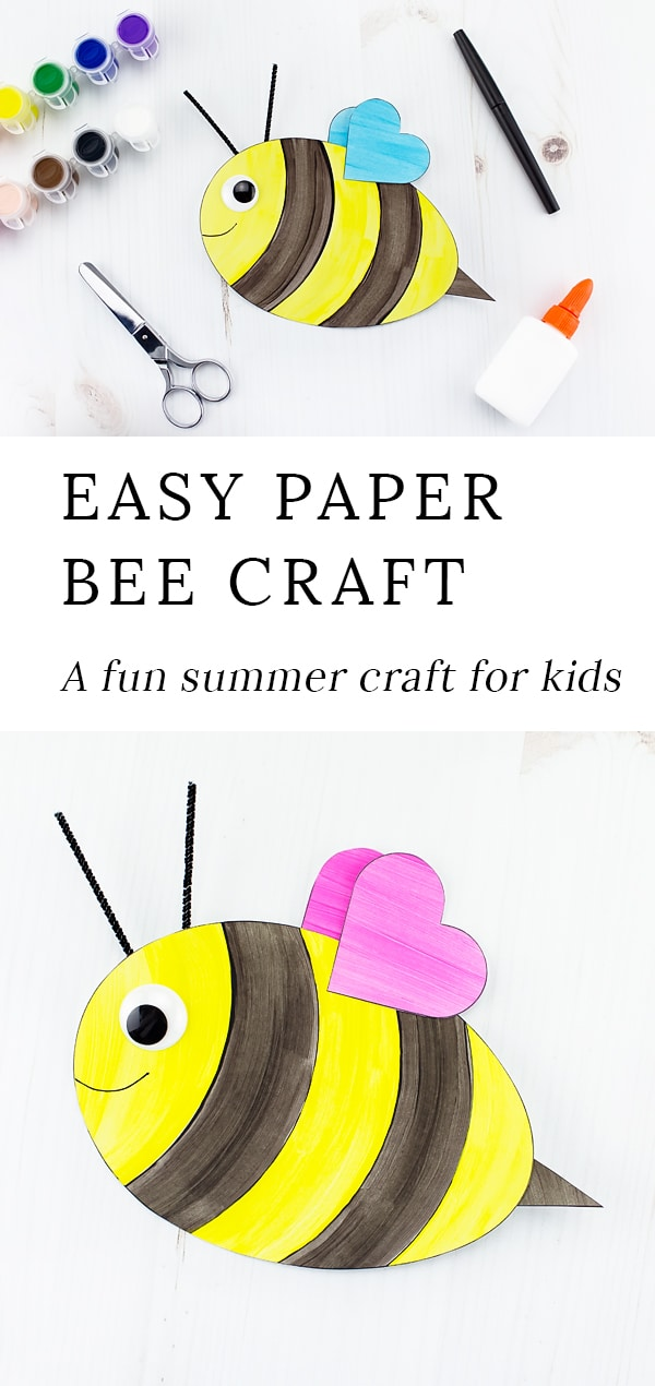 This easy and fun bee craft with heart wings includes a printable template, making it perfect for home or school. #preschool #crafts via @firefliesandmudpies
