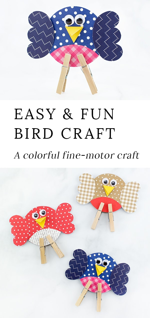 Looking for an easy and fun bird craft for kids? This colorful paper birdie craft includes a printable template, making it perfect for home or school. #birdcrafts #papercrafts #preschoolcrafts #springcrafts