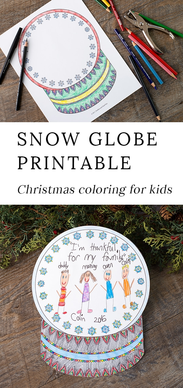 Kids of all ages will enjoy decorating this beautiful Snow Globe Coloring Page. This easy and fun winter coloring craft is perfect for home or school! #snowglobe #coloring #kids #crafts via @firefliesandmudpies
