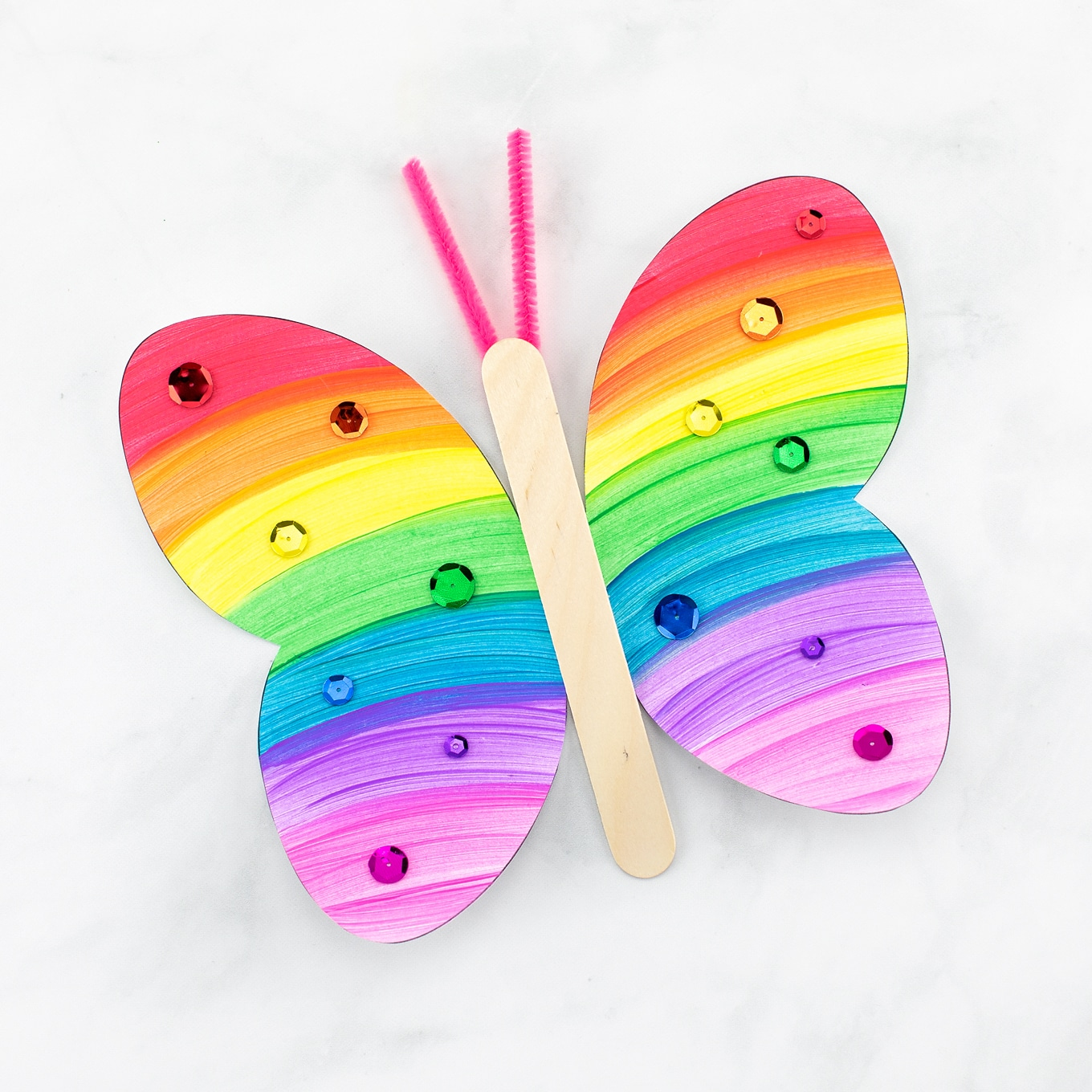 Rainbow Fluttering Paper Butterfly Craft