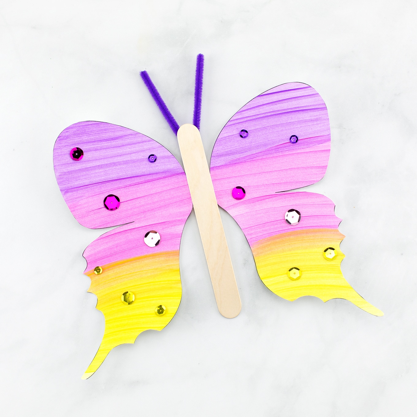 Purple, Pink, and Yellow Fluttering Butterfly Craft