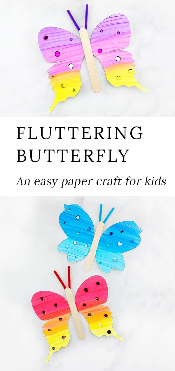 Looking for a colorful and engaging paper butterfly craft for kids? This fluttering butterfly craft includes a printable template, making it perfect for home, school, or special butterfly programs at libraries, museums, or butterfly exhibits. #butterflycrafts #preschoolcrafts #papercrafts #easycraftsforkids