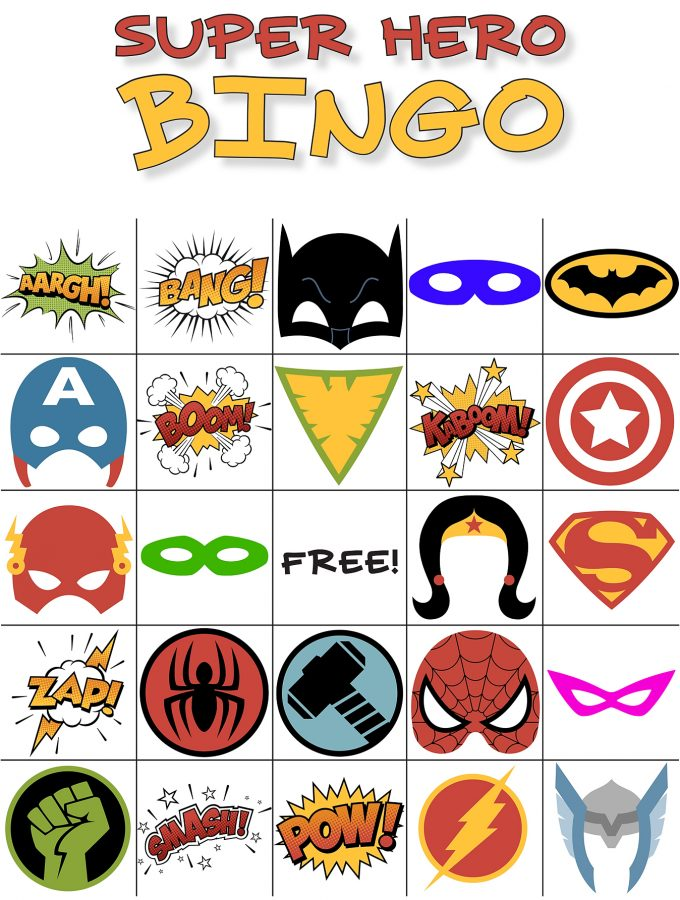 Free Printable Super Hero Bingo Game