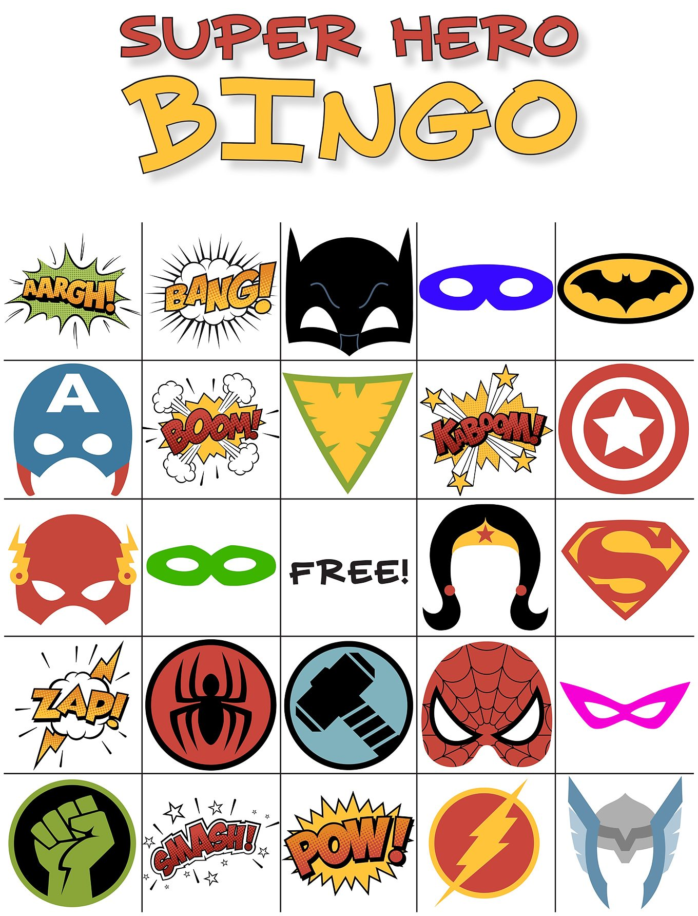 Free Printable Super Hero BINGO Party