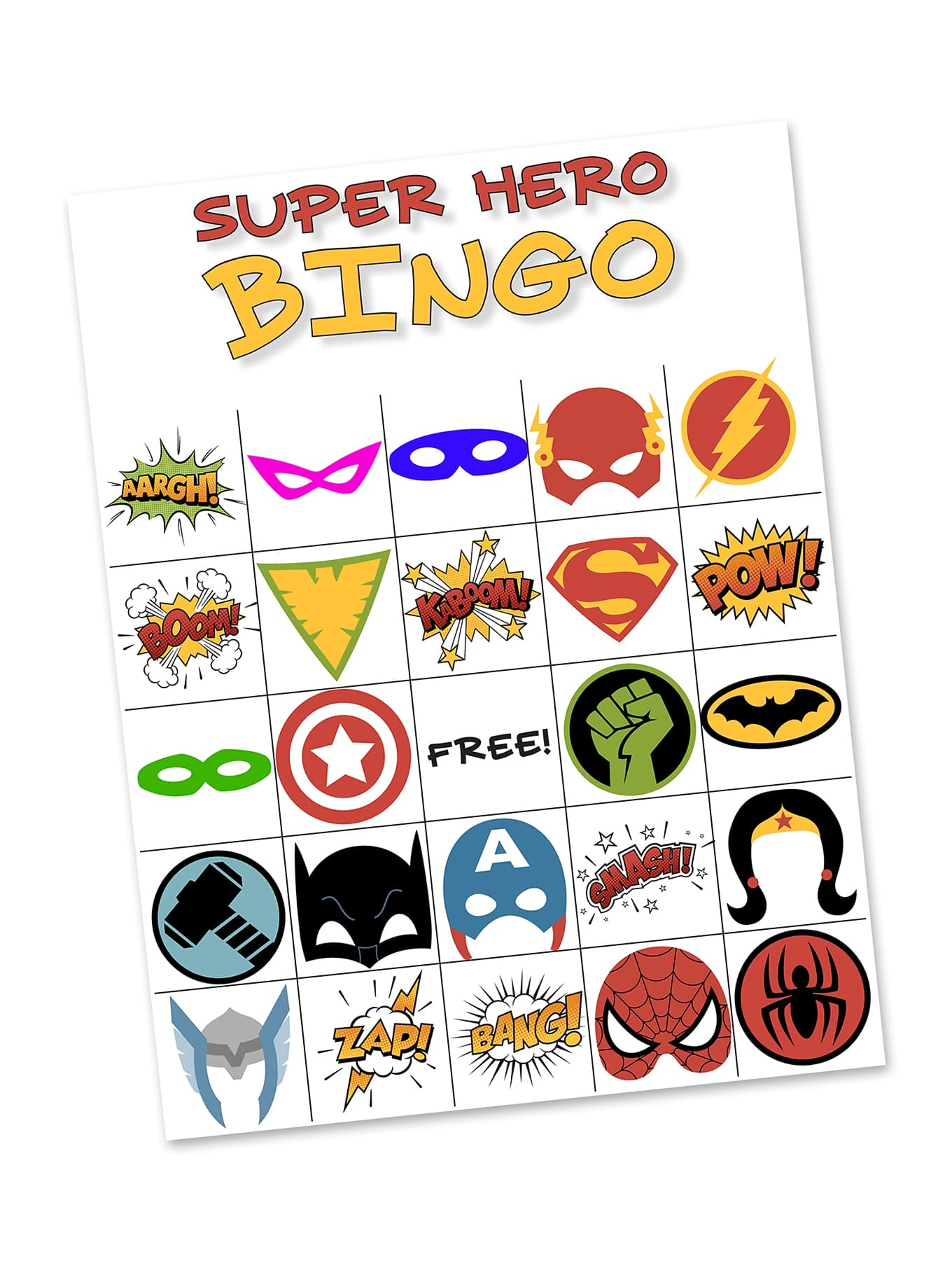 photo relating to Free Printable Superhero Photo Booth Props identify Cost-free Printable Tremendous Hero BINGO Celebration