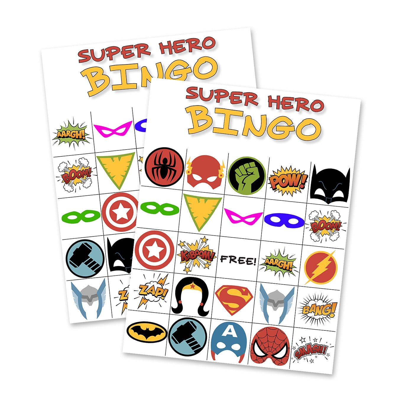 image regarding Free Printable Superhero Photo Booth Props called Free of charge Printable Tremendous Hero BINGO Bash