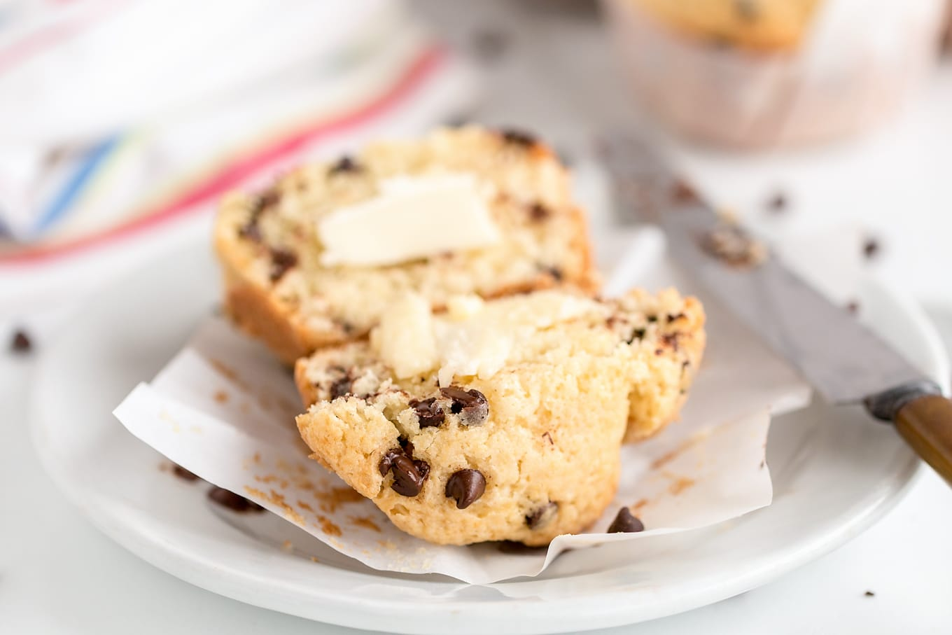 Sliced Chocolate Chip Muffin with Salted Butter
