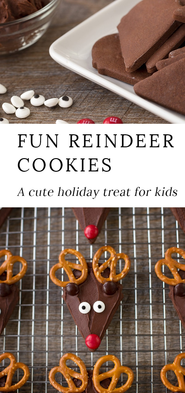 Chocolate Reindeer Cookieswith pretzel antlers are the perfect festive treat forChristmas. Guaranteed to please kids of all ages,this fun recipe is an easy and whimsical cookieto make for holidayparties, cookie exchanges, or relaxing afternoons at home!#christmas #cookies #reindeer via @firefliesandmudpies