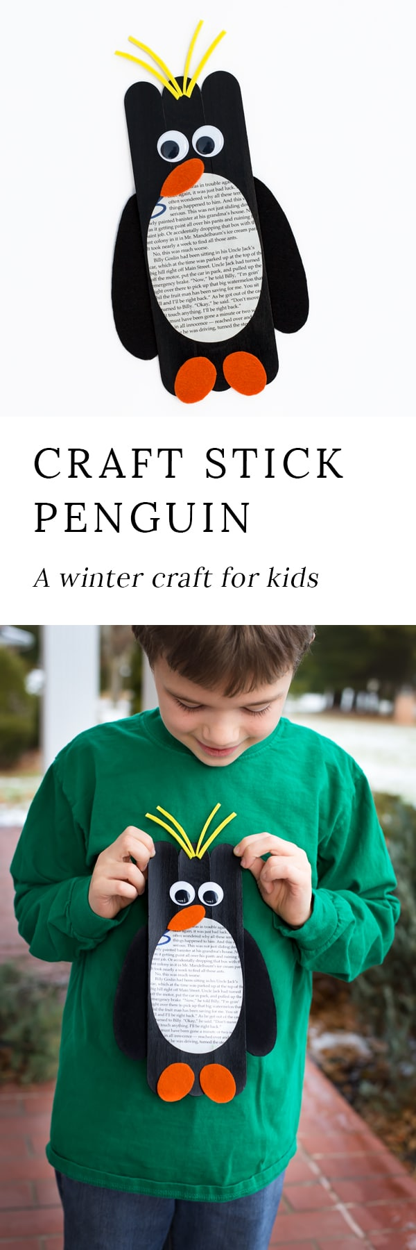 Crafters of all ages will enjoy making Giant Craft Stick Macaroni Penguins. Such a fun craft for winter!