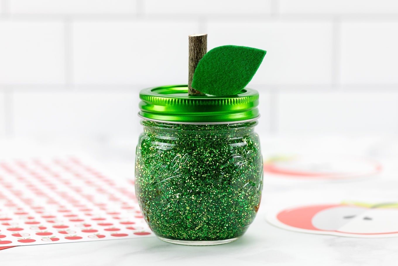 Green Apple Glitter Jar