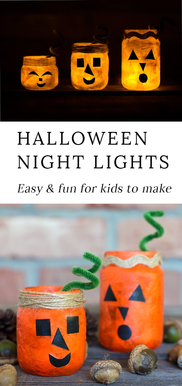 Kids of all ages will love creating a colorful and fun Jack O'Lantern Nightlight Jar for Halloween. This glowing Halloween craft is perfect for school or home. #pumpkincraft #fallcraft via @firefliesandmudpies