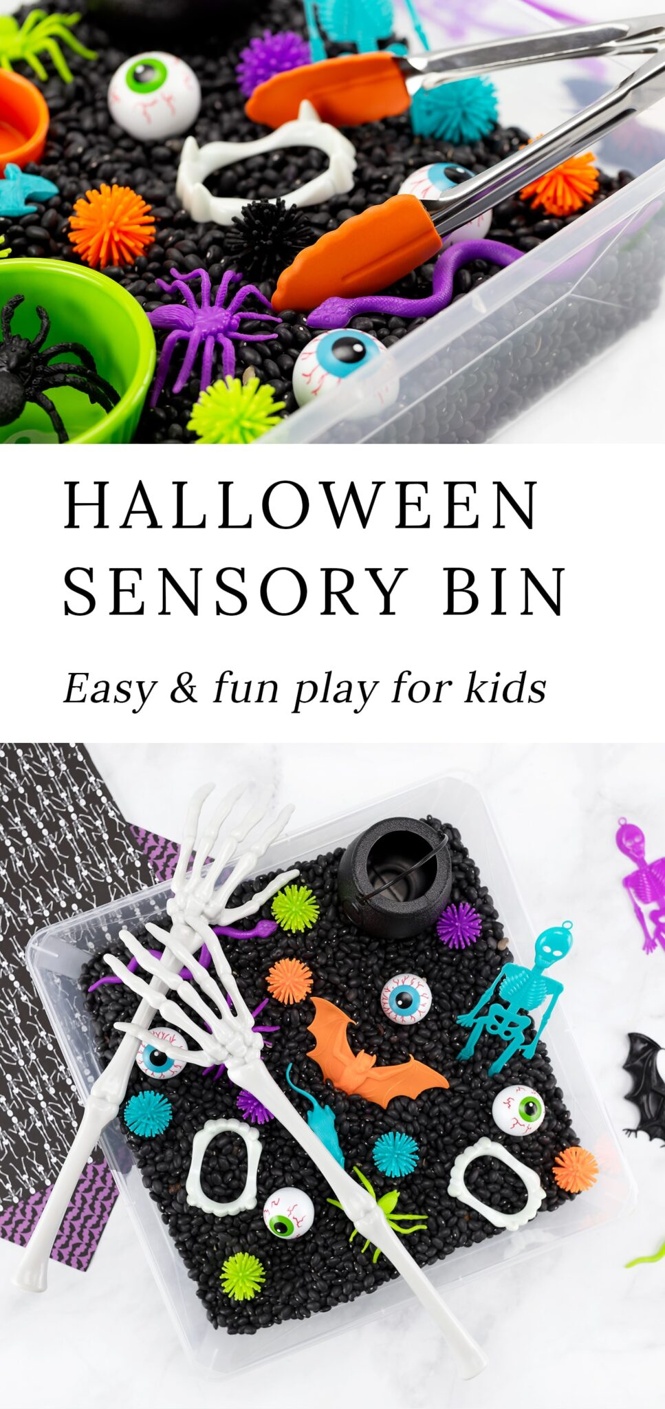 This Halloween Sensory Bin is an engaging, easy, and fun themed sensory play idea for preschoolers, kindergartners, and older kids! Make it on your own with inexpensive materials from your local grocery store or neighborhood dollar store. #halloween #sensorybin #preschool via @firefliesandmudpies