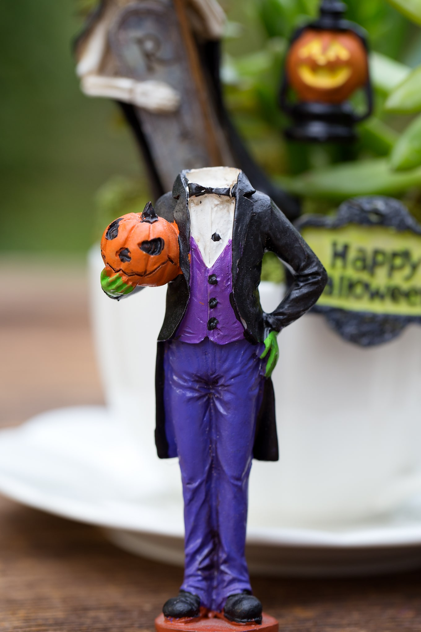 Halloween Teacup Garden Headless Pumpkin Man