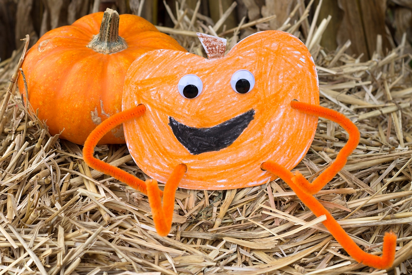 Kid-Made Paper Pumpkin Harvest Buddy Craft