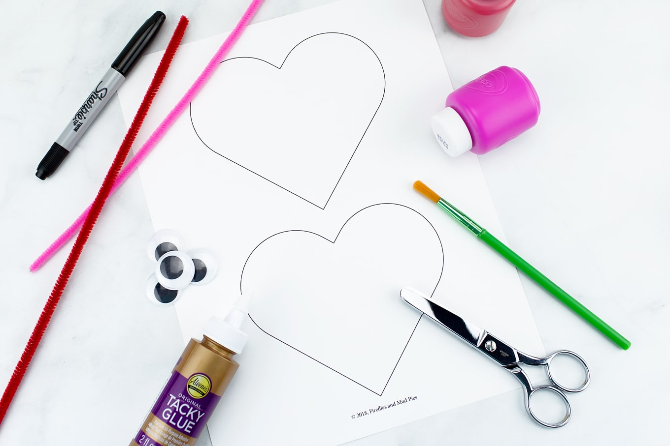 Supplies Needed for Heart Buddies Easy Valentine's Day Craft for Kids